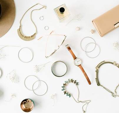 Accesories on a white background
