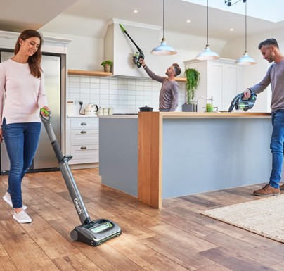 People cleaning the house using Gtech products