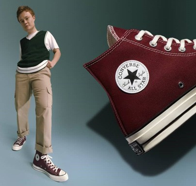 Male model with red converse